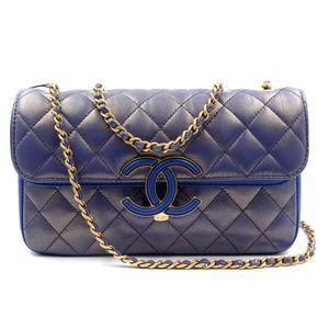 Chanel Blue Metallic Calfskin & Lambskin Flap Bag
